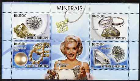 St Thomas & Prince Islands 2008 Minerals and Jewels (with Marilyn Monroe) perf sheetlet containing 4 values unmounted mint