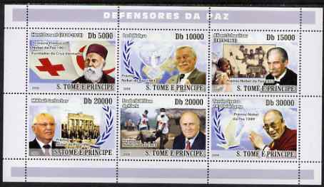 St Thomas & Prince Islands 2008 Peacekeepers & Red Cross (H Dunant, Lech Walesa, A Schweitzer, Gorbachev, de Klerk, Dalai Lama) perf sheetlet containing 6 values unmounted mint