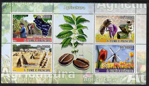St Thomas & Prince Islands 2008 Agriculture perf sheetlet containing 4 values plus 2 labels unmounted mint