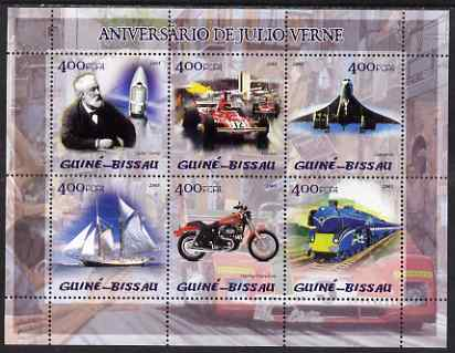 Guinea - Bissau 2005 Centenary of death of Jules Verne perf sheetlet containing 6 values (featuring Jules Verne,  F1 Ferrari, Concorde, Harley Davidson motorcyle etc) unmounted mint Mi 2865-70