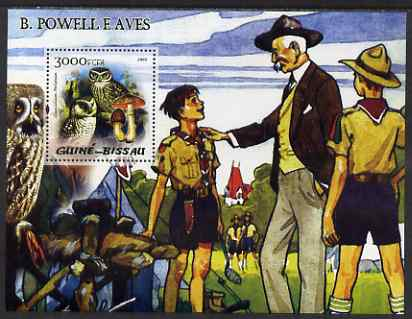Guinea - Bissau 2005 Lord Baden Powell and Owls (with Fungi) perf souvenit sheet unmounted mint Mi Bl 481