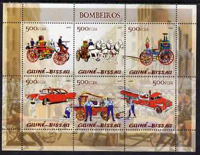 Guinea - Bissau 2005 Fire Engines perf sheetlet containing 6 values unmounted mint Yv 1768-73