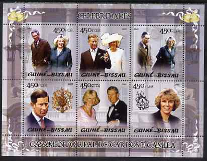 Guinea - Bissau 2005 Royal Wedding Prince Charles and Camilla Parker Bowles perf sheetlet containing 6 values unmounted mint Mi 2895-2900