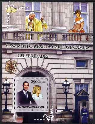 Guinea - Bissau 2005 Royal Wedding Prince Charles and Camilla Parker Bowles perf souvenir sheet (also featuring Pope Jean-Paul II and Princess Diana) unmounted mint Mi  Bl 482