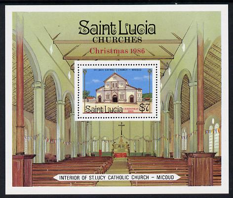 St Lucia 1986 Christmas (Church) m/sheet (SG MS 923) unmounted mint