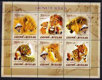 Guinea - Bissau 2005 Fauna of Africa (featuring Albert Schweitzer and Wild Cats) perf sheetlet containing 6 values unmounted mint Mi 2828-23