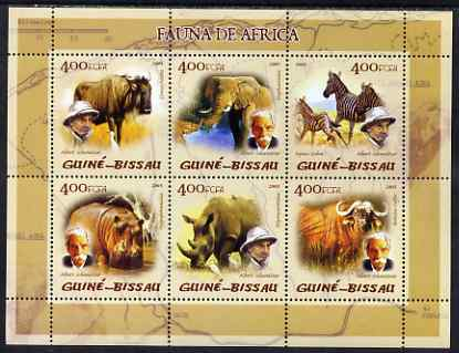 Guinea - Bissau 2005 Fauna of Africa (featuring Albert Schweitzer and Mammals) sheetlet containing 6 values unmounted mint Mi 2824-29
