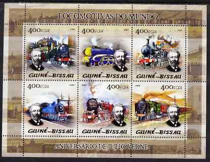 Guinea - Bissau 2005 Steam Trains (featuring Jules Verne) sheetlet containing 6 values unmounted mint Mi 2859-64