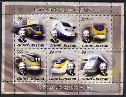 Guinea - Bissau 2005 Modern Deisel Trains (featuring Jules Verne and Eurostar) sheetlet containing 6 values unmounted mint Mi 2853-58