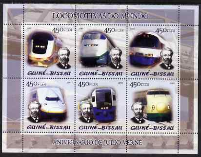 Guinea - Bissau 2005 Japanese Trains (featuring Jules Verne) sheetlet containing 6 x 450 Fcfa values unmounted mint Mi 2871-76