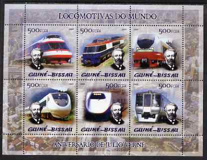 Guinea - Bissau 2005 Japanese Trains (featuring Jules Verne) sheetlet containing 6 x 500 Fcfa values unmounted mint Mi 2877-82