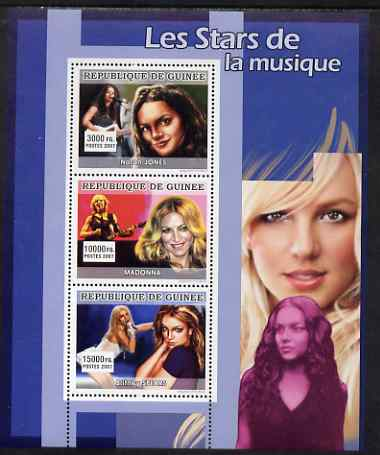Guinea - Conakry 2007 Female Music Stars perf sheetlet containing 3 values (Norah Jones, Madonna, Britney Spears) unmounted mint