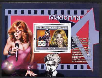 Guinea - Conakry 2007 Female Music Stars (Madonna) perf souvenir sheet unmounted mint, stamps on music, stamps on personalities, stamps on madonna