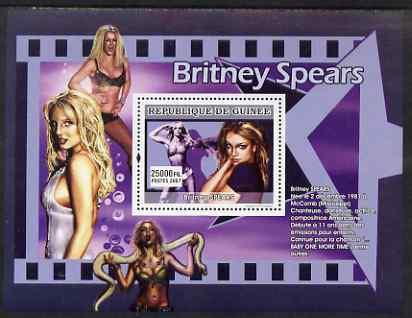Guinea - Conakry 2007 Female Music Stars (Britney Spears) perf souvenir sheet unmounted mint