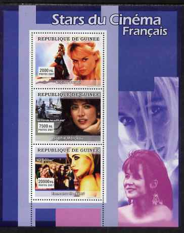 Guinea - Conakry 2007 French Film Stars perf sheetlet containing 3 values (Bridget Bardot, Sophie Marceau, Emmanuelle Beart) unmounted mint