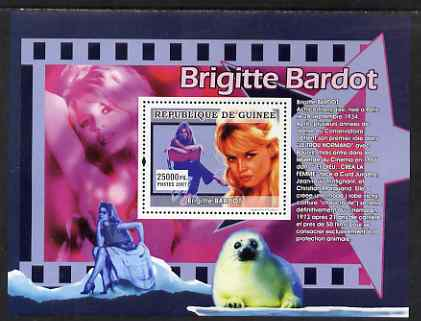 Guinea - Conakry 2007 French Film Stars (Bridget Bardot) perf souvenir sheet unmounted mint