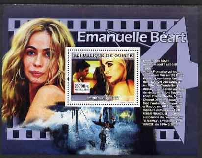Guinea - Conakry 2007 French Film Stars (Emmanuelle Beart) perf souvenir sheet unmounted mint