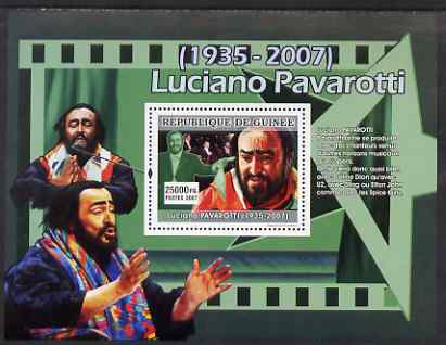 Guinea - Conakry 2007 Luciano Pavarotti (Pavarotti loved to produce..) perf souvenir sheet unmounted mint