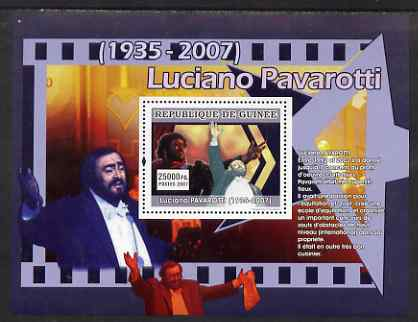 Guinea - Conakry 2007 Luciano Pavarotti (Pavarotti donates to charities) perf souvenir sheet unmounted mint