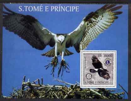 St Thomas & Prince Islands 2003 Birds of Prey (with Rotary & Lions Internationsl symbols) perf souvenir sheet unmounted mint Mi Bl 1438