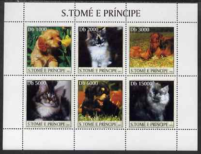 St Thomas & Prince Islands 2003 Cats & Dogs (puppy sniffing flower) perf sheetlet containing 6 values unmounted mint Mi 2118-23