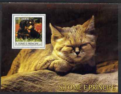 St Thomas & Prince Islands 2003 Cats & Dogs (black & tan puppy) perf souvenir sheet unmounted mint Mi Bl 1443