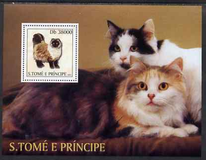 St Thomas & Prince Islands 2003 Cats (with Scouts emblem) perf souvenir sheet unmounted mint Mi Bl 1441