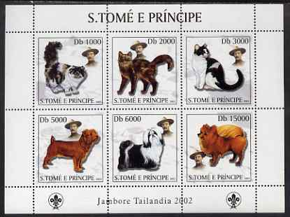 St Thomas & Prince Islands 2003 Cats & Dogs (with Scouts emblem) perf sheetlet containing 6 values unmounted mint Mi 2112-17