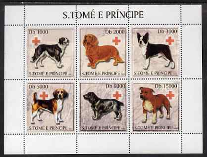 St Thomas & Prince Islands 2003 Dogs (with Red Cross symbol) perf sheetlet containing 6 values unmounted mint Mi 2130-35