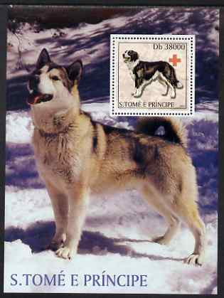 St Thomas & Prince Islands 2003 Dogs (with Red Cross symbol) perf souvenir sheet unmounted mint Mi Bl 1445, stamps on animals, stamps on dogs, stamps on red cross, stamps on bernese