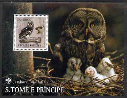 St Thomas & Prince Islands 2003 Owls (with Lord Baden-Powell) perf souvenir sheet unmounted mint Mi Bl 1430