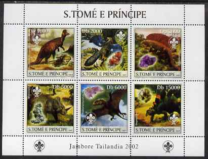 St Thomas & Prince Islands 2003 Dinosaurs (with Scout emblem) perf sheetlet containing 6 values unmounted mint Mi 1974-79