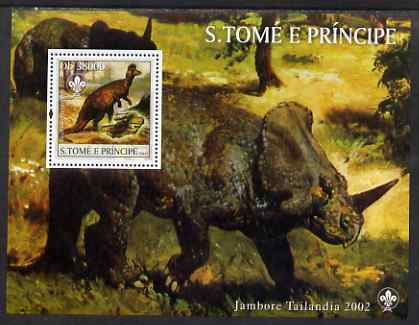 St Thomas & Prince Islands 2003 Dinosaurs (with Scouts emblem) perf souvenir sheet unmounted mint Mi Bl 1423