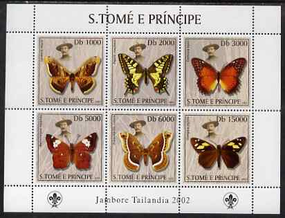 St Thomas & Prince Islands 2003 Butterflies (with Lord Baden-Powell) perf sheetlet containing 6 values unmounted mint Mi 2013-18