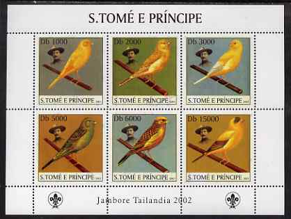 St Thomas & Prince Islands 2003 Canaries (with Lord Baden-Powell) perf sheetlet containing 6 values unmounted mint Mi 2025-30