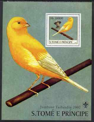 St Thomas & Prince Islands 2003 Canaries (with Lord Baden-Powell) perf souvenir sheet unmounted mint Mi Bl 1431