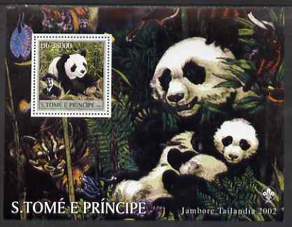 St Thomas & Prince Islands 2003 Pandas (with Lady Baden-Powell) perf souvenir sheet unmounted mint Mi Bl 1447