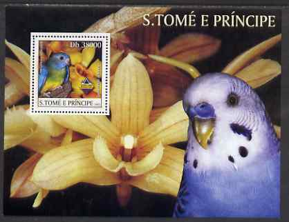 St Thomas & Prince Islands 2003 Parrots & Orchids perf souvenir sheet unmounted mint Mi Bl 1440