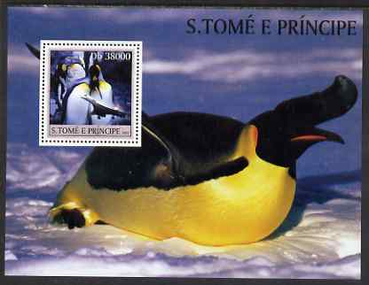 St Thomas & Prince Islands 2003 Penguins & Concorde perf souvenir sheet unmounted mint Mi Bl 1435, stamps on polar, stamps on penguins, stamps on aviation, stamps on concorde