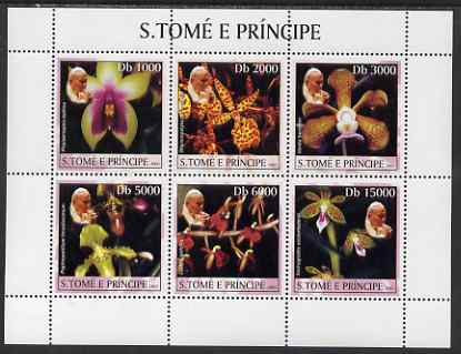 St Thomas & Prince Islands 2003 Orchids (with Pope Jean-Paul II) perf sheetlet containing 6 values unmounted mint Mi 2037-42