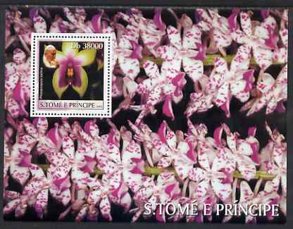 St Thomas & Prince Islands 2003 Orchids (with Pope Jean-Paul II) perf souvenir sheet unmounted mint Mi Bl 1433