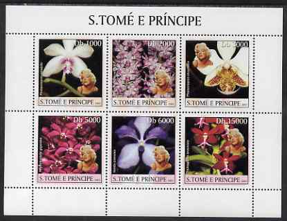 St Thomas & Prince Islands 2003 Orchids (with Marilyn Monroe) perf sheetlet containing 6 values unmounted mint Mi 2043-48