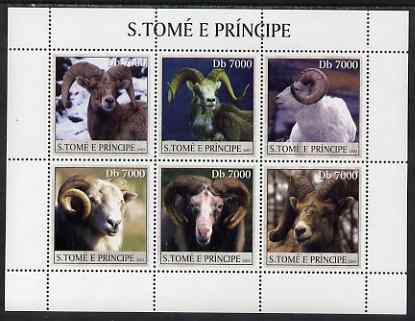 St Thomas & Prince Islands 2003 Moufflons (Wild Rams) perf sheetlet containing 6 values unmounted mint Mi 2154-59