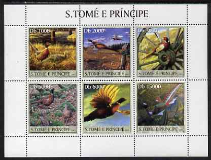 St Thomas & Prince Islands 2003 Pheasants perf sheetlet containing 6 values unmounted mint Mi 2067-72