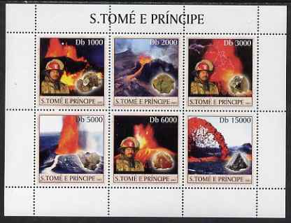 St Thomas & Prince Islands 2003 Volcanoes (with Molten Lava Fire-fighter & minerals) perf sheetlet containing 6 values unmounted mint Mi 1981-86