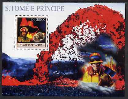 St Thomas & Prince Islands 2003 Volcanoes (with Molten Lava Fire-fighter & minerals) perf souvenir sheet unmounted mint Mi Bl 1424