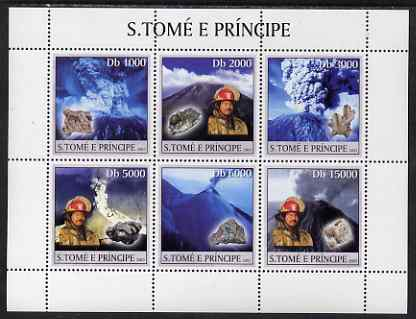 St Thomas & Prince Islands 2003 Volcanoes (with Ash Clouds Fire-fighter & minerals) perf sheetlet containing 6 values unmounted mint Mi 1987-92