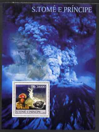 St Thomas & Prince Islands 2003 Volcanoes (with Ash Clouds Fire-fighter & minerals) perf souvenir sheet unmounted mint Mi Bl 1425