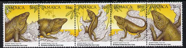 Jamaica 1991 50th Anniversary of Natural History Society (Iguanas) strip of 5 unmounted mint, SG 785a