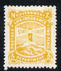 New Zealand 1944-47 Life Insurance 2d yellow (Lighthouse) unmounted mint but some foxing, SG L39